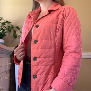 Olsen quilted pink Repreve puffer with collar